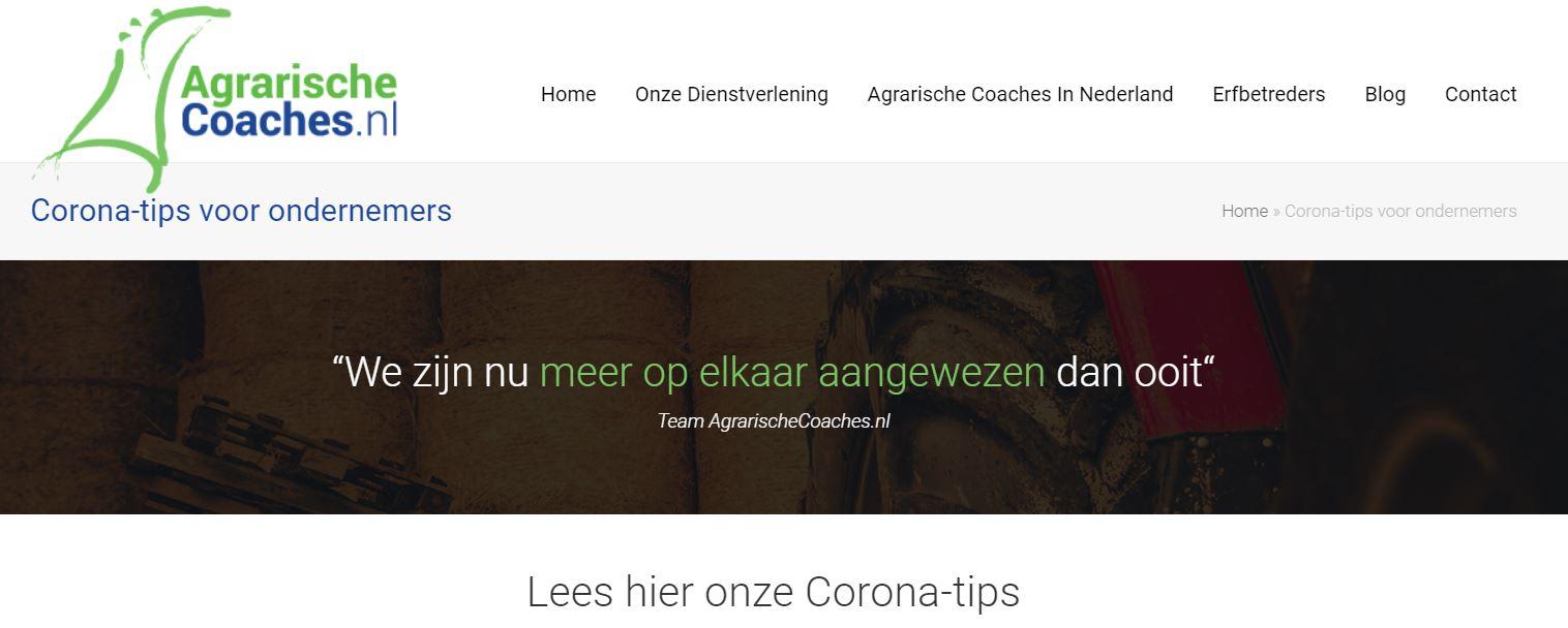 AgroCoach corona tips voor ondernemers
